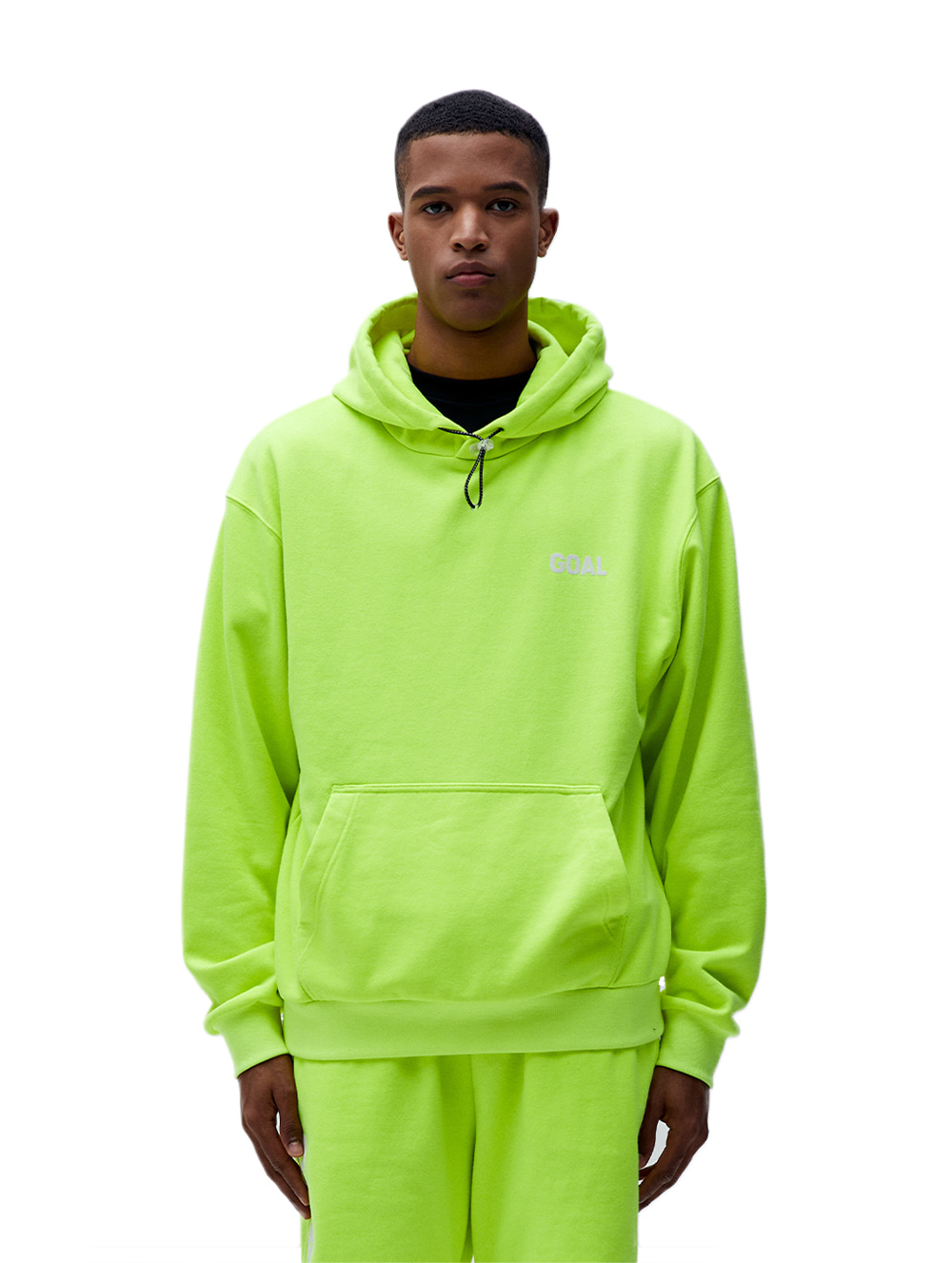 FLOCKING HOODIE - LIME YELLOW