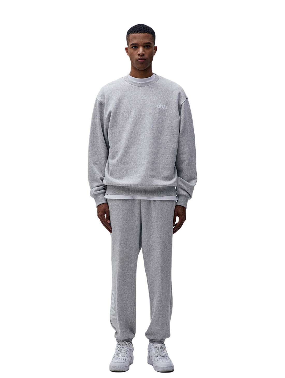 [10% OFF] FLOCKING SWEATSHIRT & PANTS SET - GREY