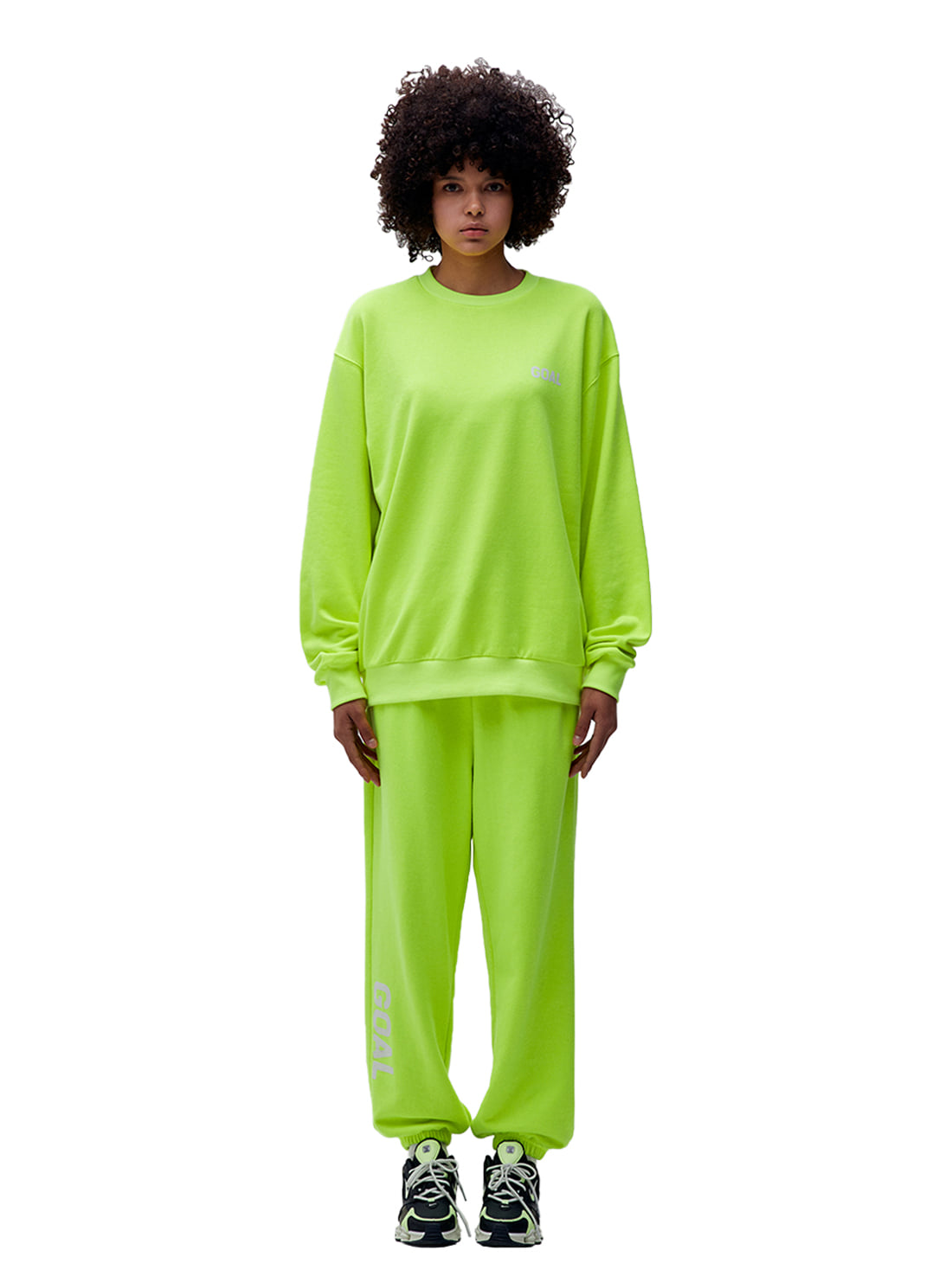 [10% OFF] FLOCKING SWEATSHIRT & PANTS SET - LIME YELLOW
