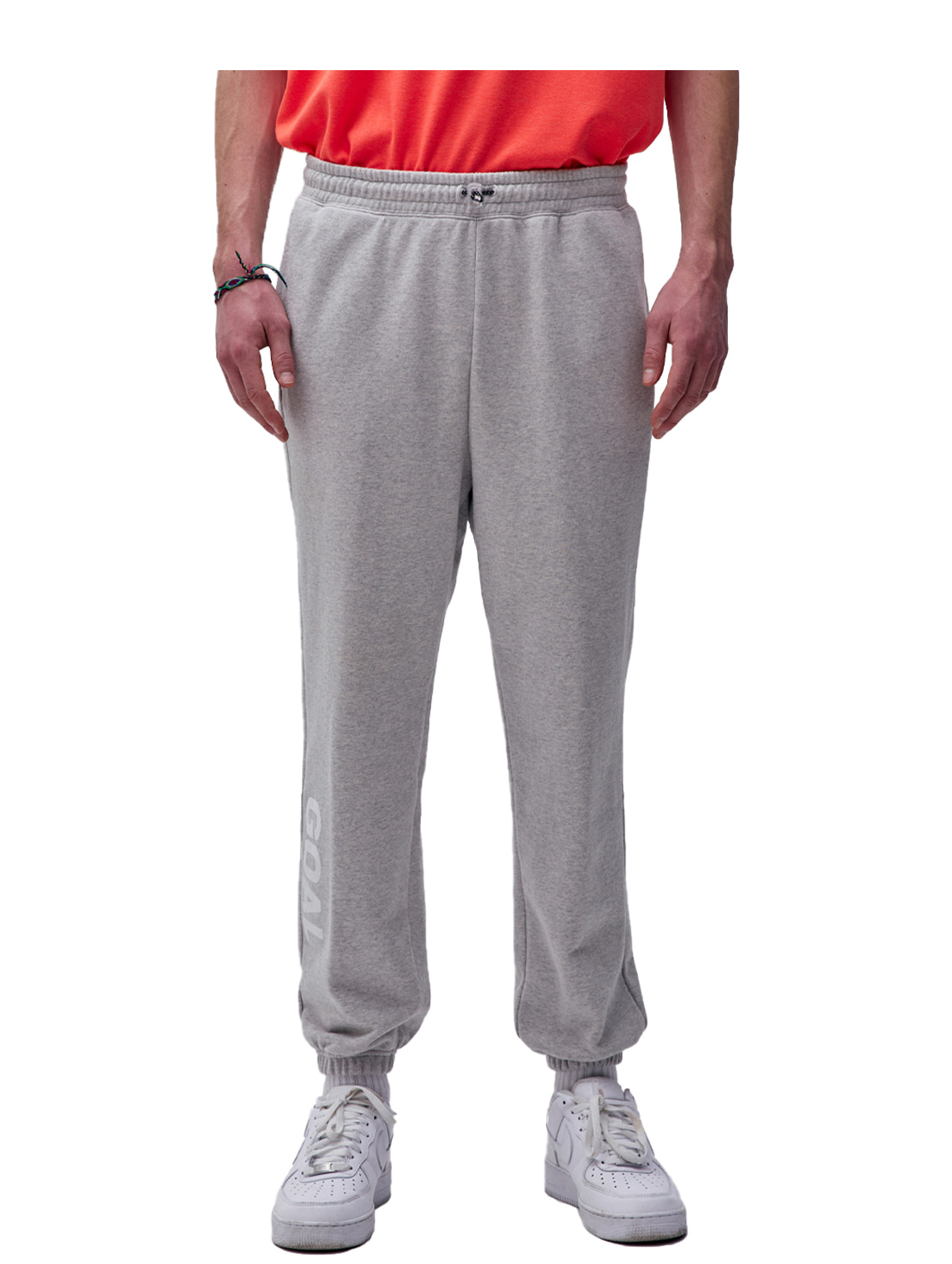 FLOCKING KNIT JOGGER PANTS - GREY