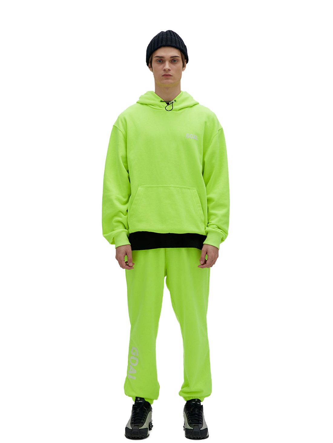 [10% OFF] FLOCKING HOODIE & PANTS SET - LIME YELLOW