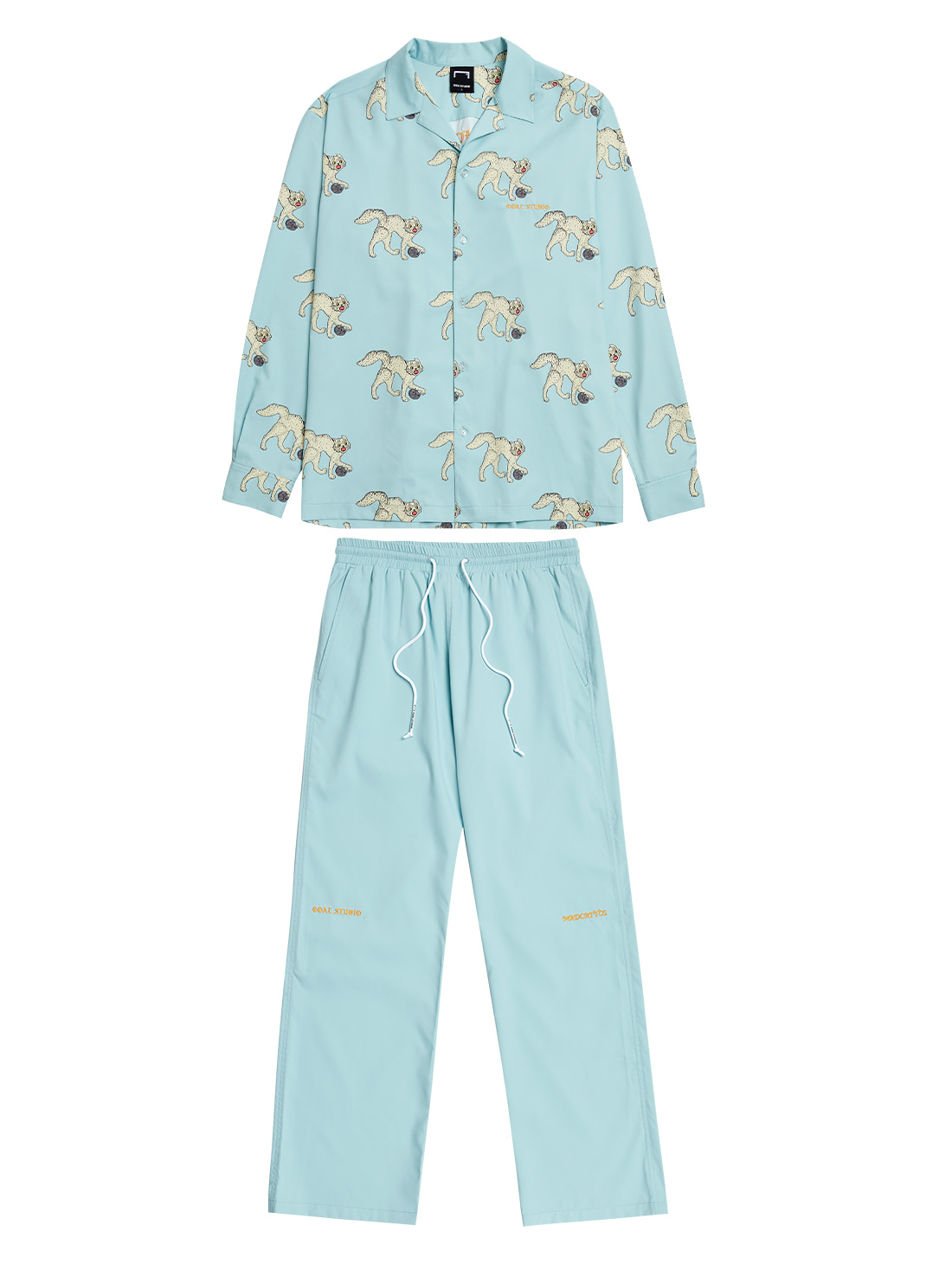[10% OFF] MC ALL OVER PATTERN SHIRTS & PANTS SET - LIGHT BLUE