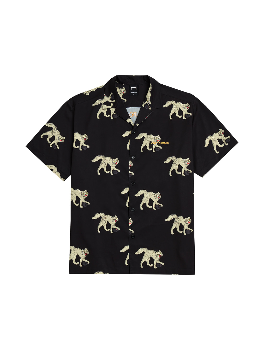 MC ALL OVER PATTERN HALF SHIRTS - BLACK
